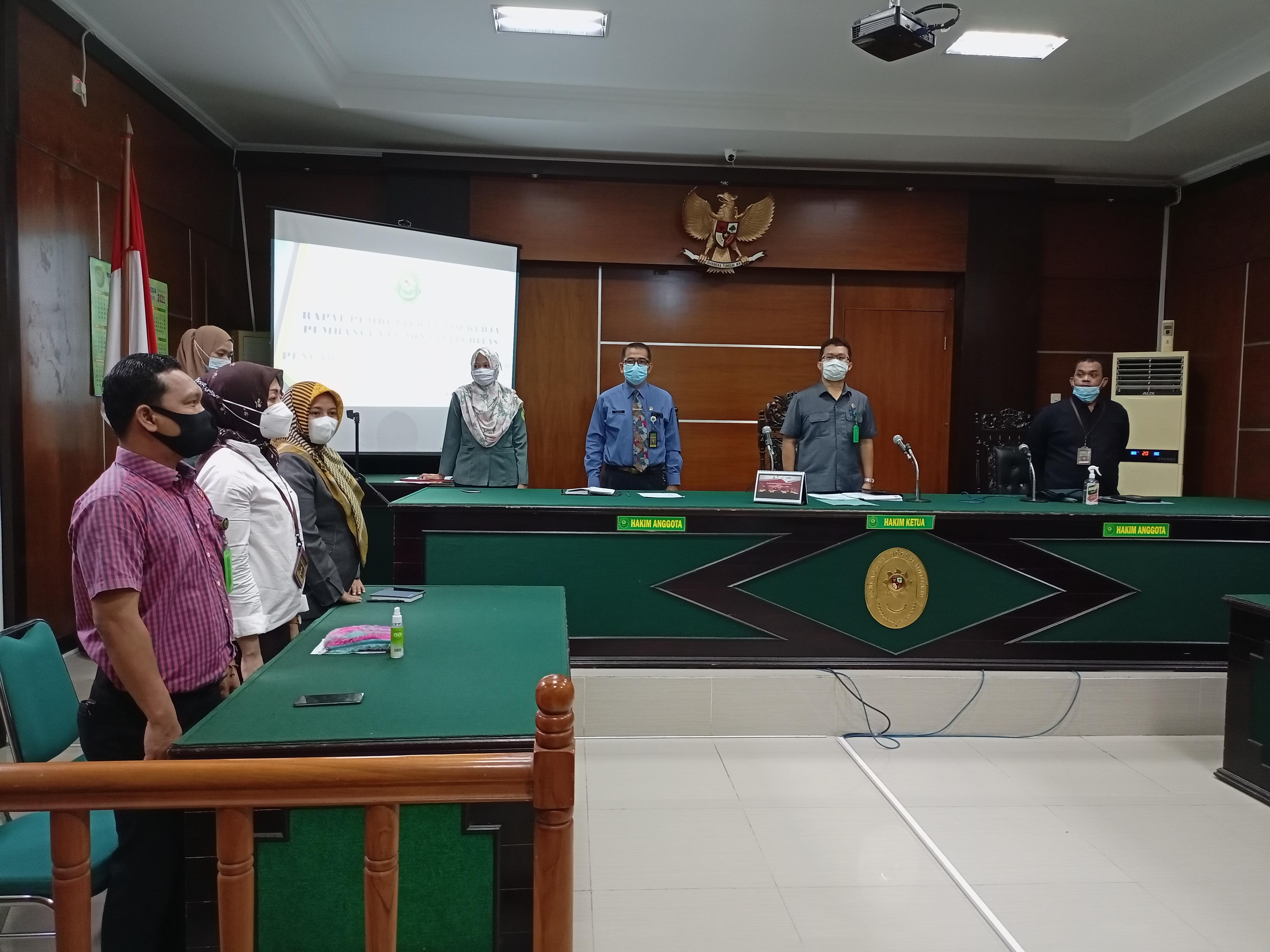 Rapat Pembentukan Tim Kerja Pembangunan Zona Integritas & Sosialisasi Dipa 01 dan 03 Tahun 2021