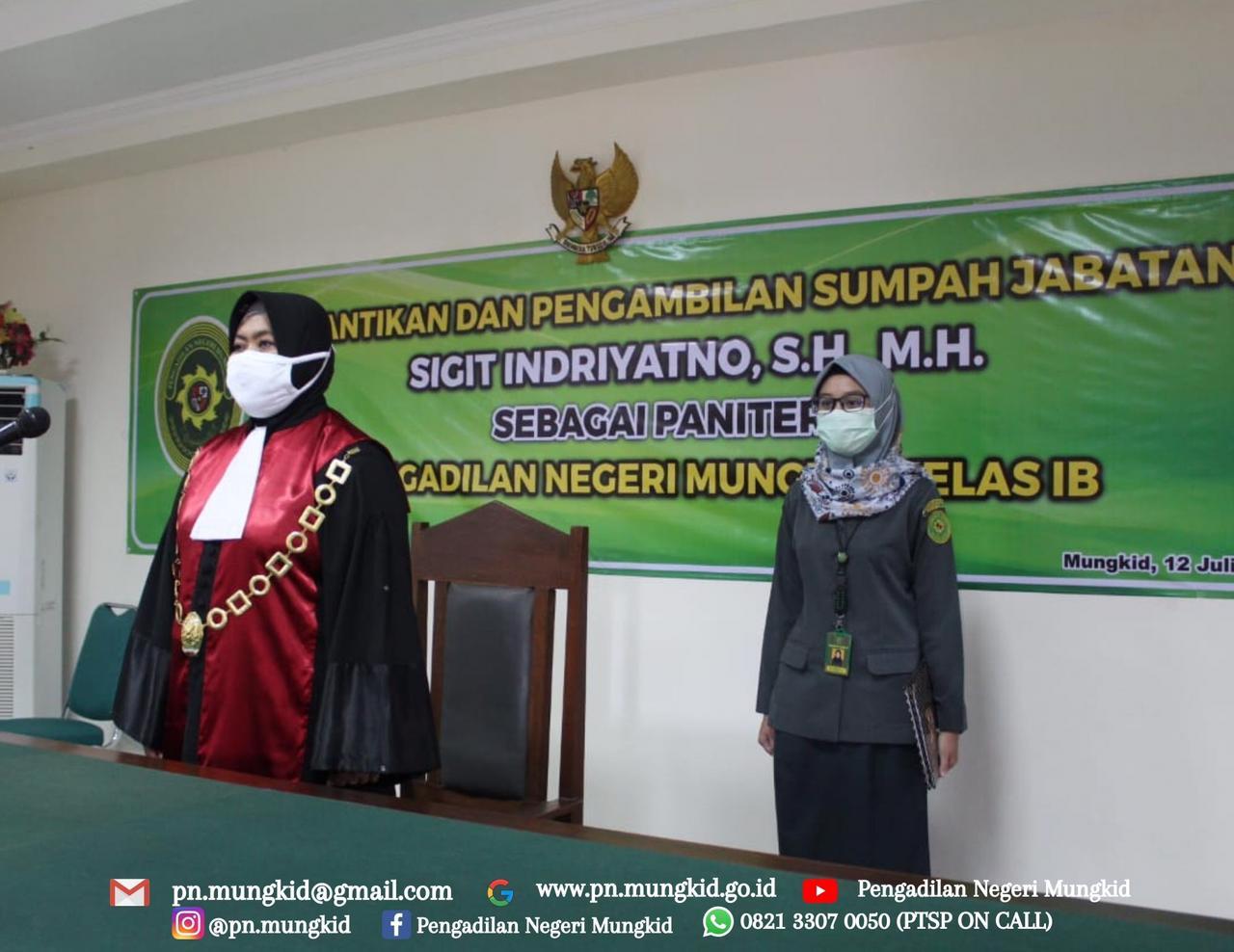 Pelantikan dan Pengambilan Sumpah Jabatan Panitera dan Sekretaris Pengadilan Negeri Mungkid Kelas 1B